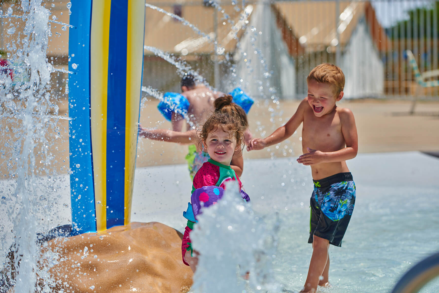 Children Playing at Water Park