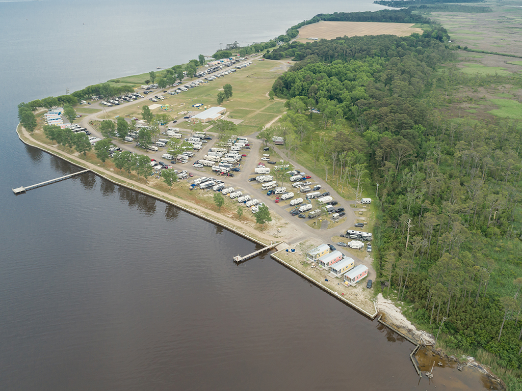 Outer Banks West-Currituck Sound Holiday KOA is family-friendly a waterfront RV resort and campground in Coastal North Carolina.